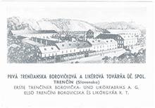 Reklamná pohľadnica Prvej trenčianskej borovičkovej alikérovej továrne