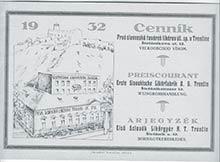 Cenník zroku 1932 – Prvá slovenská továreň likérov