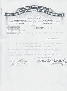 Dokument Prvej slovenskej továrne na droždie alieh zr. 1926