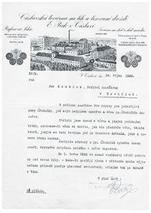 Korešpondencia medzi Čáslavskou továrňou atrenčianskou pobočkou zr. 1926