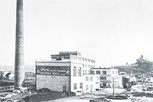 Novopostavený areál Prvej slovenskej továrne na droždie lieh apokrmové masti