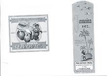 Pôvodné etikety Prvej slovenskej továrne na droždie, lieh apokrmové masti