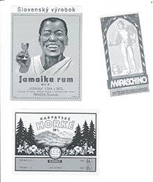 Pôvodné etikety trenčianskych likériek z30-tych rokov