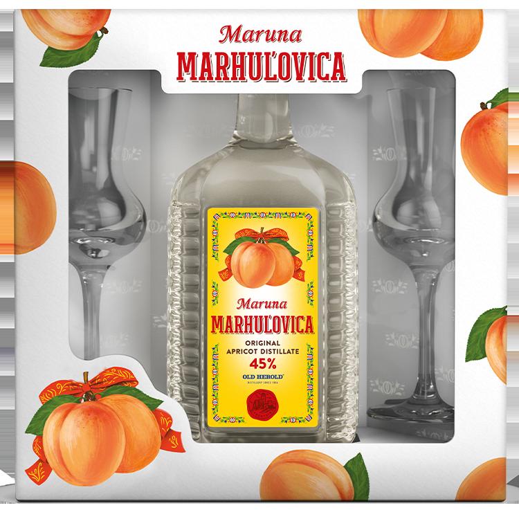 Maruna Marhuľovica 45% spohármi Rona
